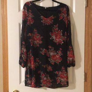 Charlotte Russe black rose cold shoulder dress